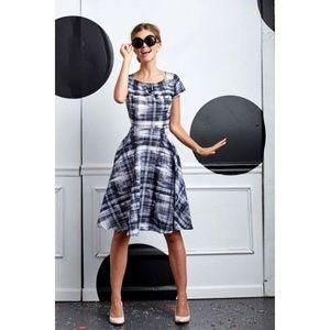 Shabby Apple Black White Plaid Camo Dress Pockets